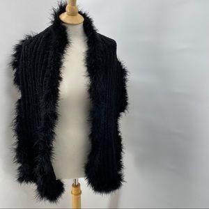 White House Black Market Fleece/Feather Scarf NWOT